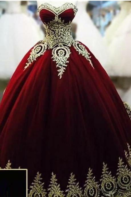 b62ca36109e Burgundy Quinceanenra Dresses Sweetheart Gold Applique Lace Floor Length Puffy  Prom Formal Wedding Ball Gowns