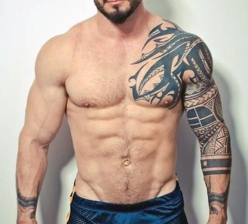 Chest To 1 4 Sleeve Koi Fish And Lotus Tattoo: Tribal Sleeve Tattoos For Men