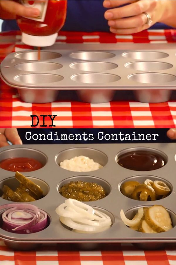 Turn your muffin pan into a condiments container!