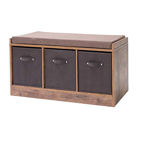 Iwell Rustic Storage Bench With 3 Removable Drawers Entryway Bench Storage In 2020 Rustic Storage Bench Entryway Bench Storage Wooden Storage Bench