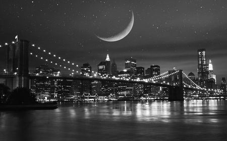 Moon Over New York New York Black And White New York Night Black And White Wallpaper