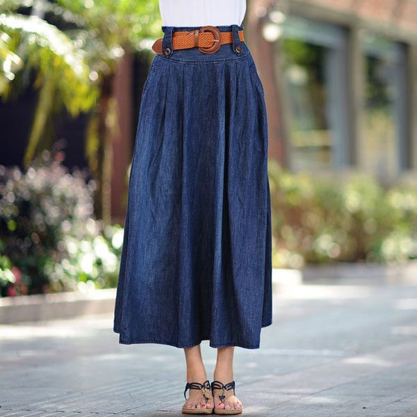 Women's casual wide flare skirt Lady's large size ankle length long denim skirt with belt Free