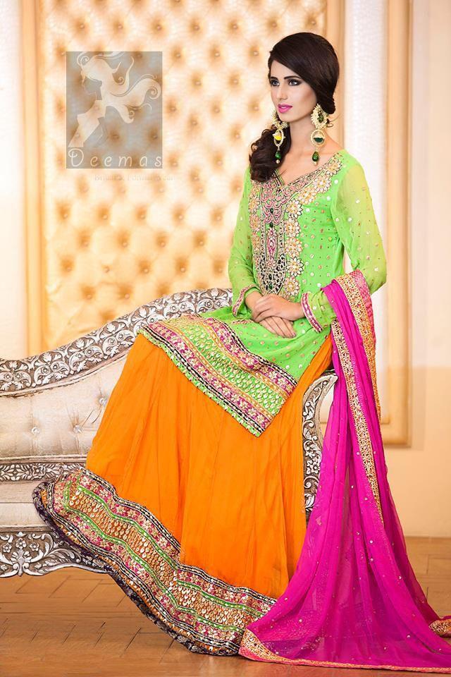 Bright Green Shirt Orange Lehenga & Pink Dupatta for Mehndi ...