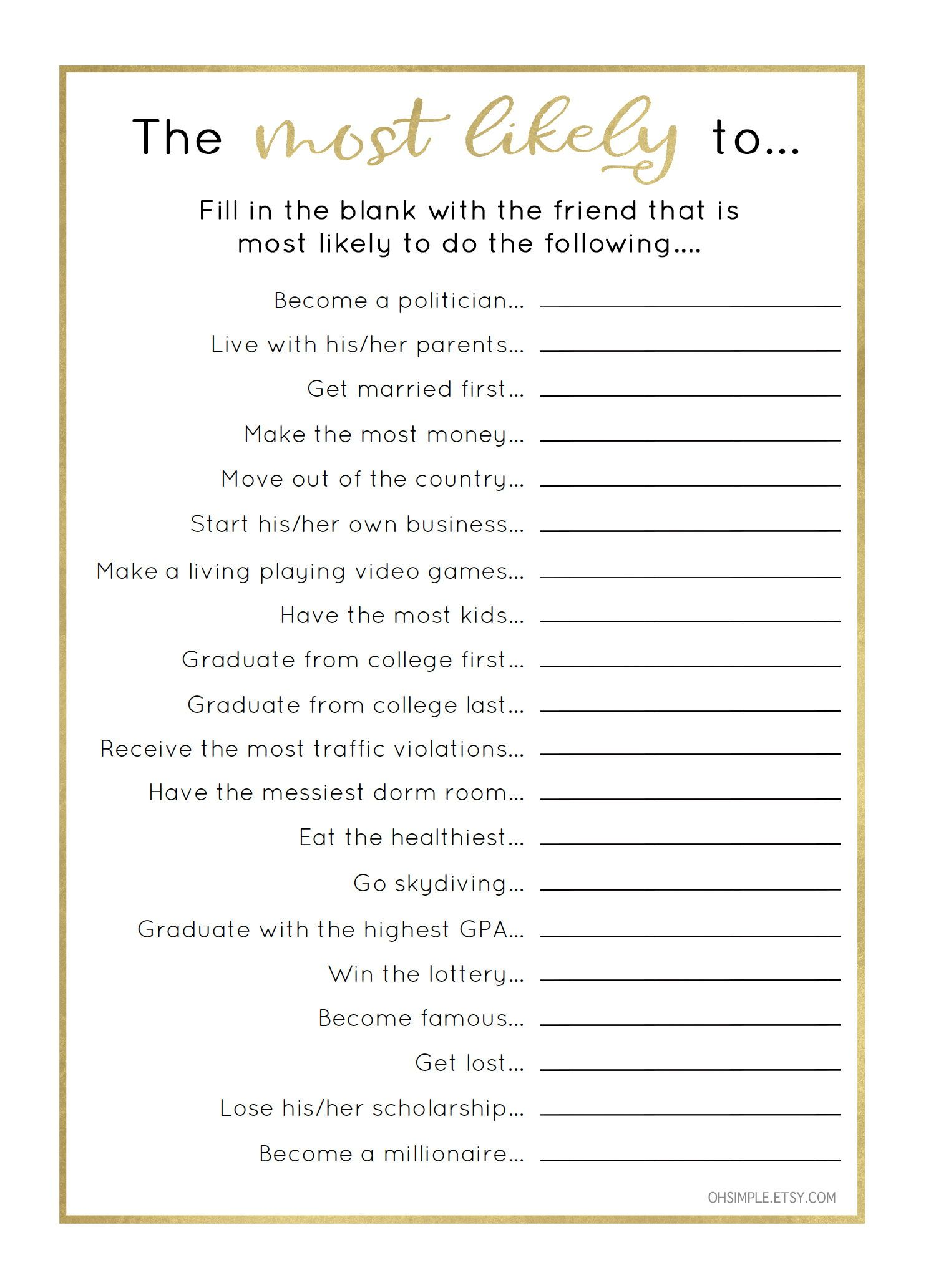 Funny Graduation Party Games Most Likely To Graduation Party Game Easy Graduation Party Ideas Graduation Party Games Graduation Funny Graduation Party Diy