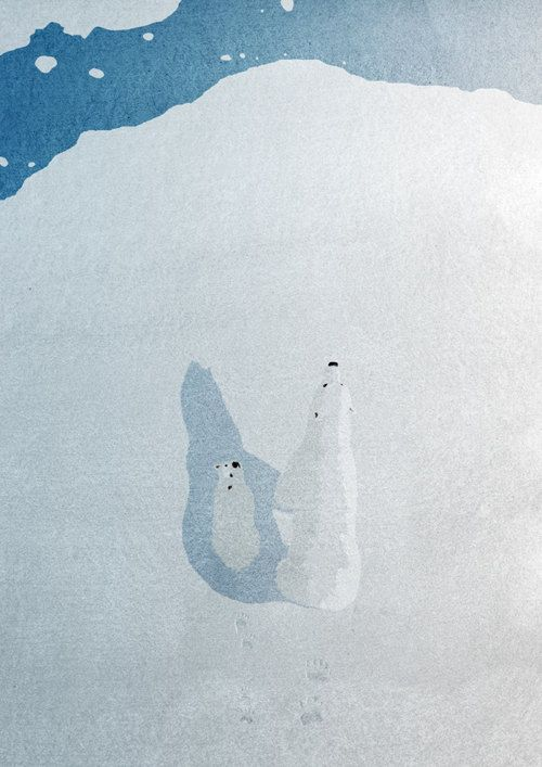 "Polar Bear by DEVILandTHEDEEPSEA. "" The illustration depicts a scavenging polar bear and her cub on the edge of a slowly melting Arctic ice sheet, and possible extinction. The illustration is seen through the eyes of an Arctic Tern."""
