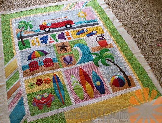 Piece N Quilt Beach Break Custom Machine Quilting By Natalia Bonner Beach Quilt Quilts Machine Quilting
