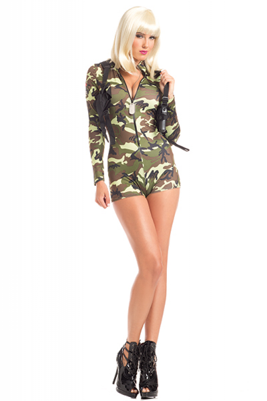 26cdb194237bf Sexy Be Wicked Green Camouflage Commander Cutie Army Soldier Military Cadet  Halloween Party Costume
