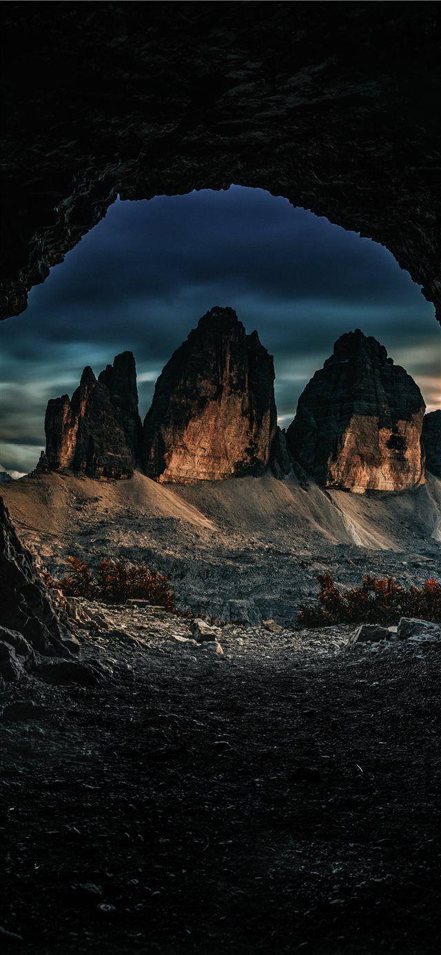 Three peaks of Lavaredo iPhone X wallpaper night moon