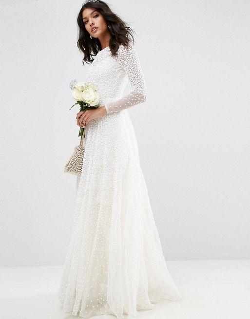 Fresh ASOS ASOS BRIDAL Embellished Long Sleeve Maxi Dress