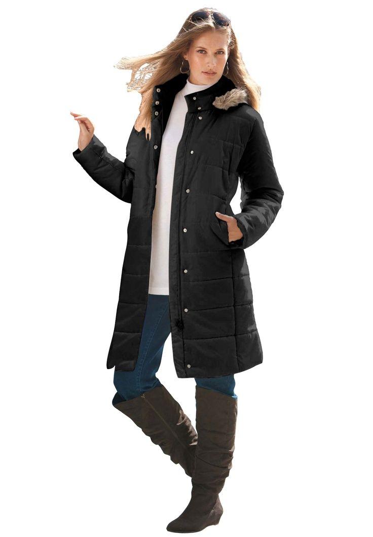 14ac983548aa3 Roamans Womens Plus Size Hooded Faux-Fur Lined Raincoat Unique ...