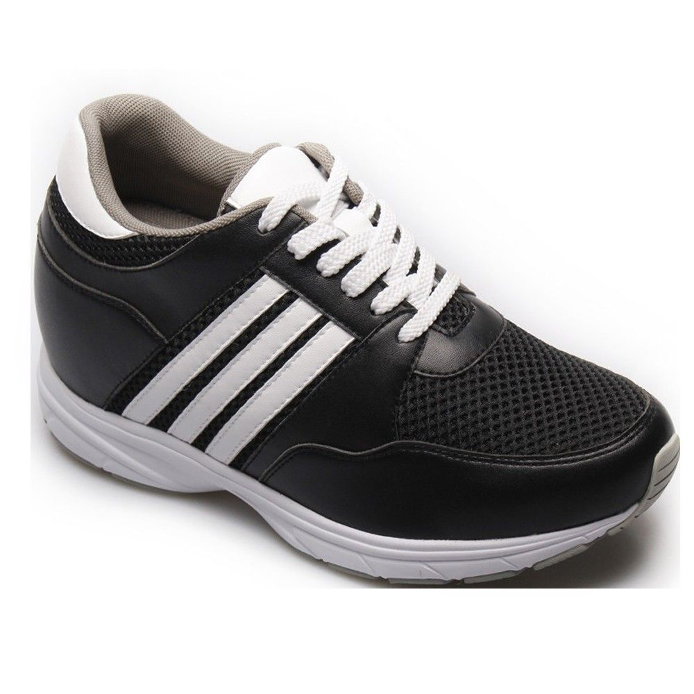 Shoes Outlet - Chamaripa 3.35 Inch Taller Mens Black Fashion Elevator Height Sport Shoes Black