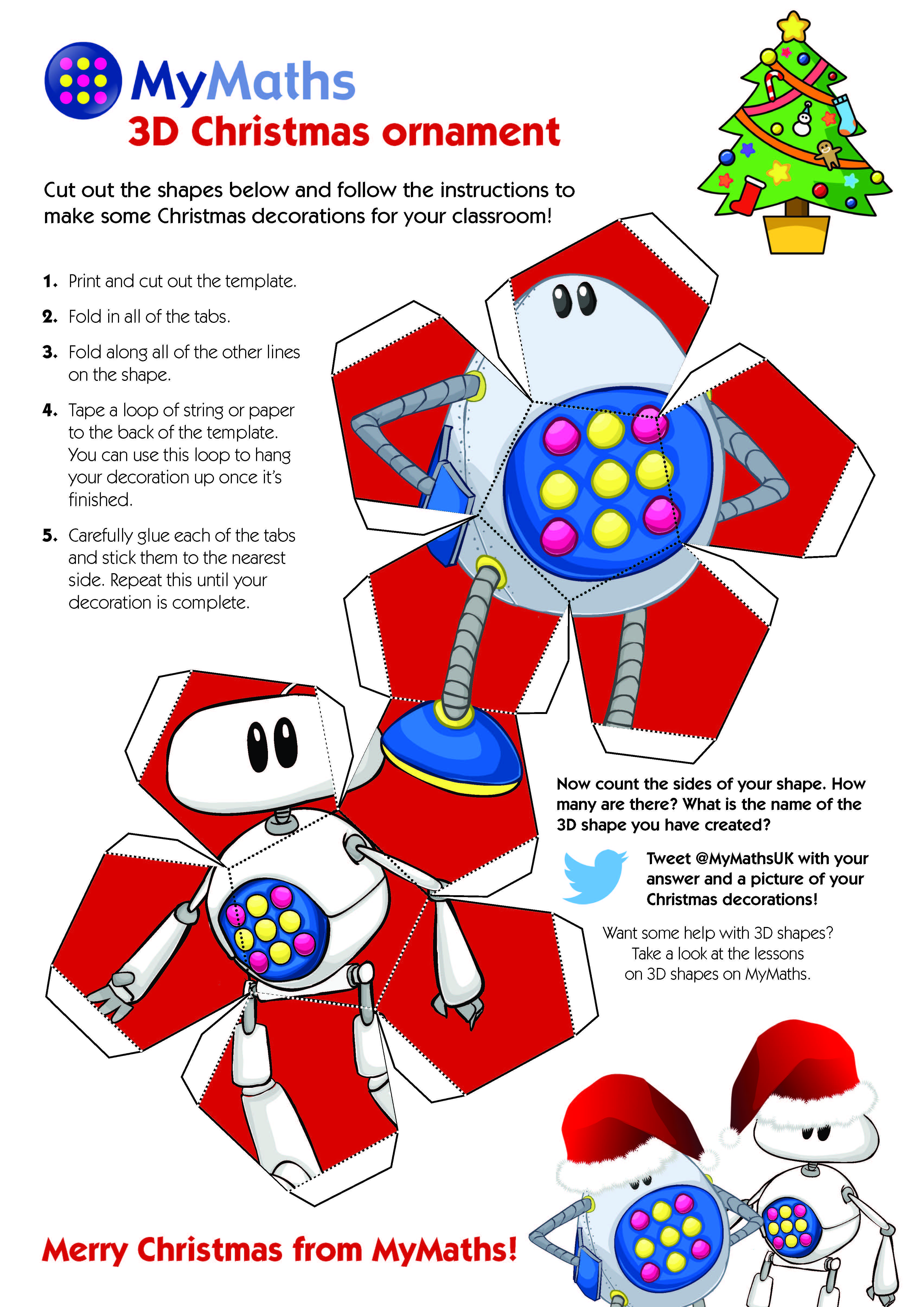 Download this template to make 3D MyMaths Christmas decorations from ...