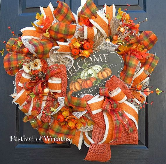 12 Easy Diy Deco Mesh Wreaths For Fall: Fall Wreath Fall Deco Mesh Wreath Fall By