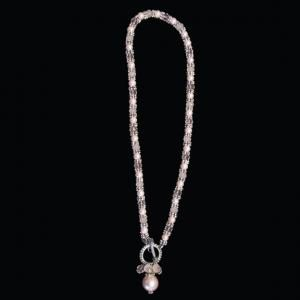 6mm pink glass pearl, Swarovski crystal and silver plated 16 inch necklace with front toggle closure and pearl charms.    $99.00