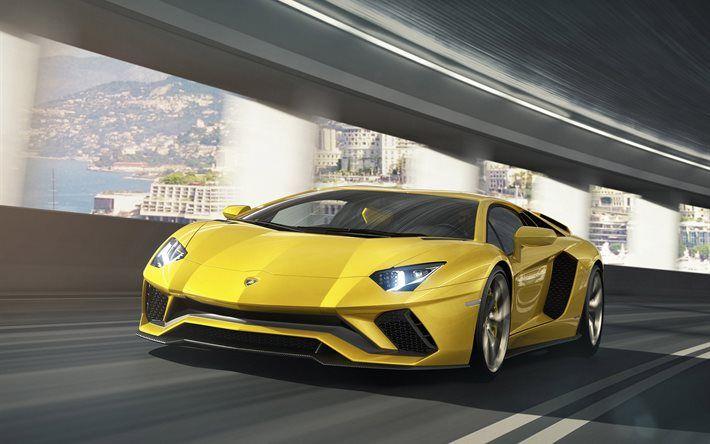 Lamborghini Aventador S, 2017 cars, movement, supercars, yellow lamborghini