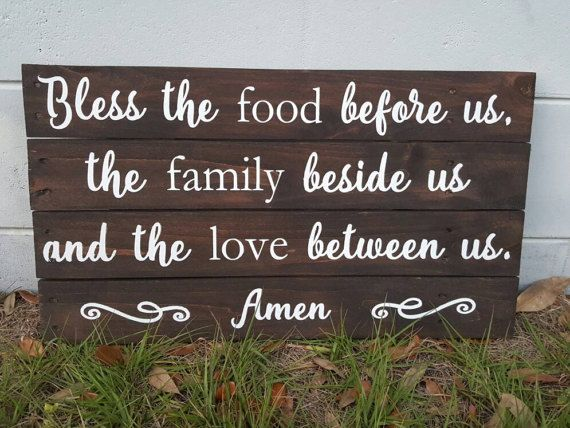 Bless the Food Before Us  Pallet Sign  by DawnKirklandDesigns