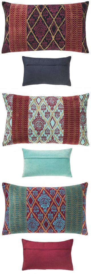 Handprinted velvet cushion cover