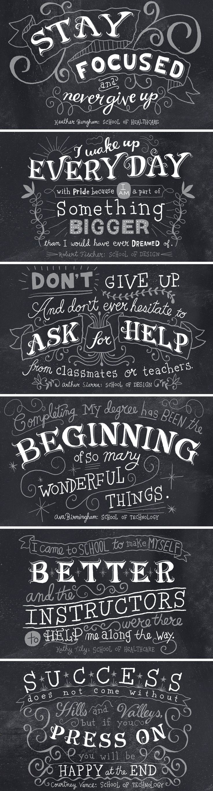 Stay focused, never give up.  Wake up every day with pride...  (Meaningful inspiring quotes) LOVE CHALKBOARD LETTERING! <3 Seriously, if you're like me, and you love chalkboard typography, you should definitely get even more Pins from my Lettering Board - go ahead, get inspired by all the chalkboard typography Pins you can ;) Enjoy!