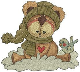 Amused bear machine embroidery design      . Machine embroidery design. www.embroideres.com
