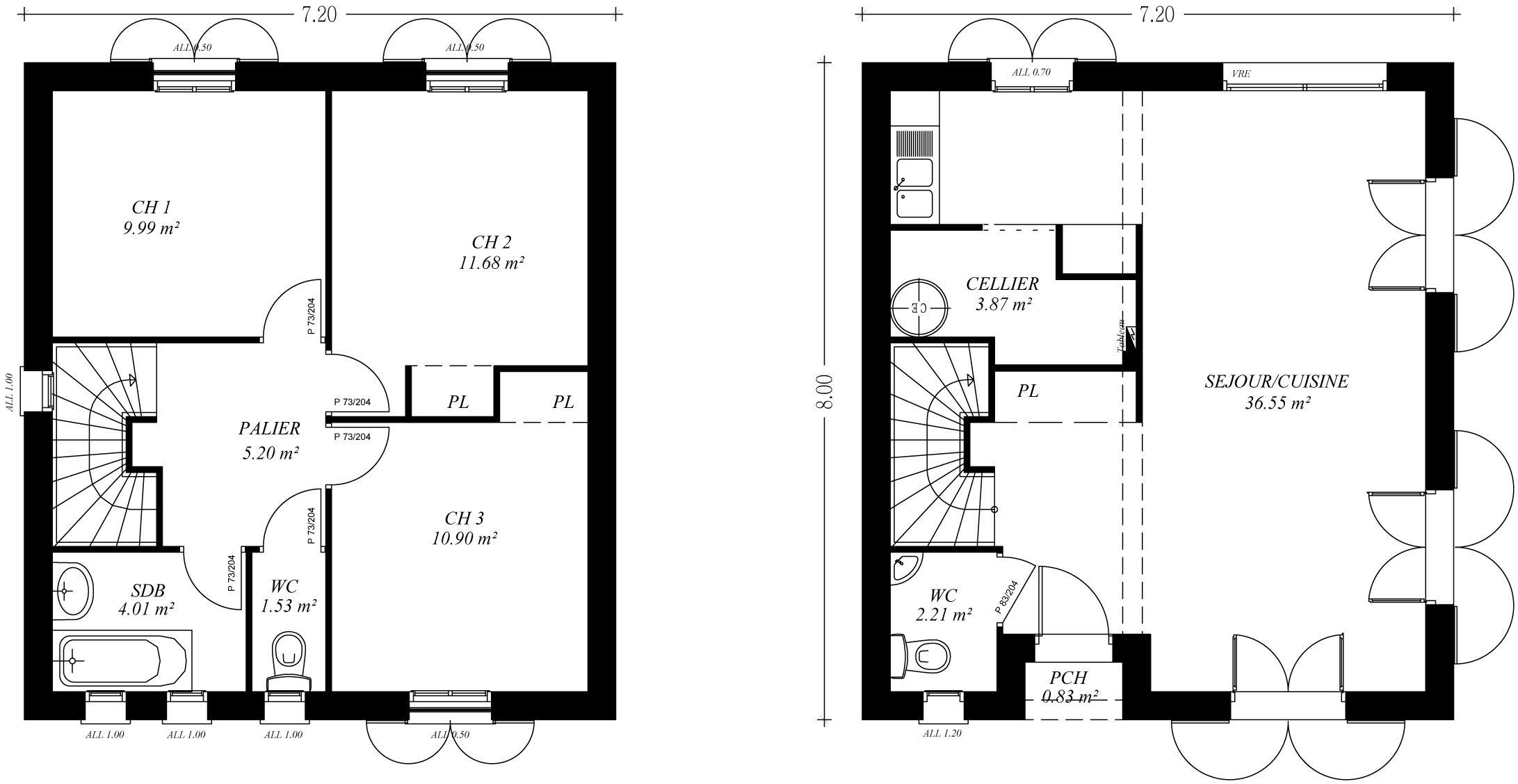 Plan Maison R 1 100m2 Rraffo Excellent 0m2 0