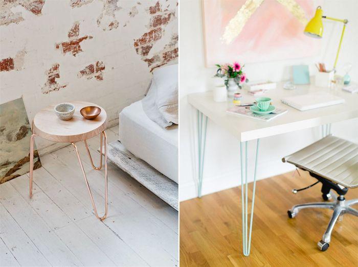 les pieds en t te d 39 pingle des pieds en fer de couleur pour une table ou un tabouret. Black Bedroom Furniture Sets. Home Design Ideas
