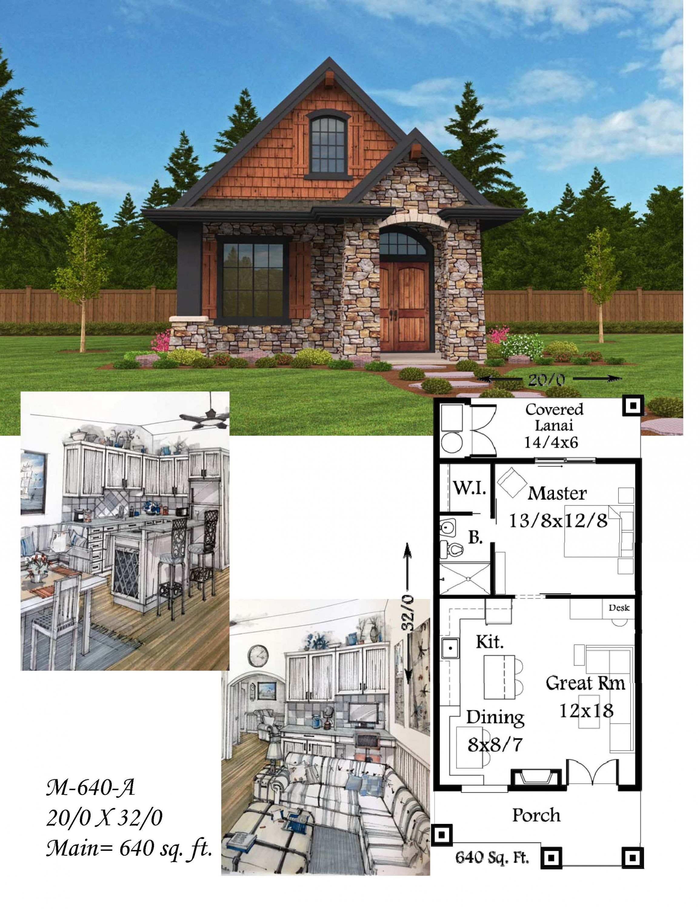 Montana house plan bungalow casita style cottage for Tuscan home plans with casitas