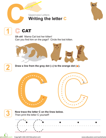 c is for cat practice writing the letter c now i know my abc 39 s letter c writing practice. Black Bedroom Furniture Sets. Home Design Ideas