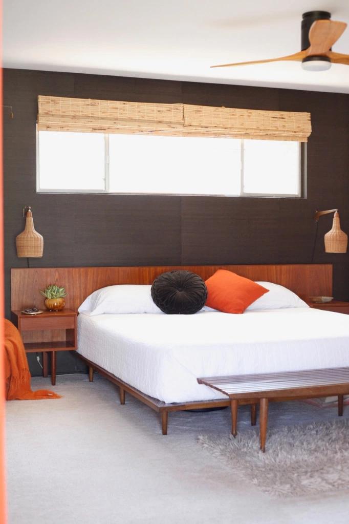 Master Bedroom Furniture Swaps Suburban Pop Mid Century Danish Headboard Floating Nightstands Scon Master Bedroom Furniture Bedroom Furniture Master Bedroom
