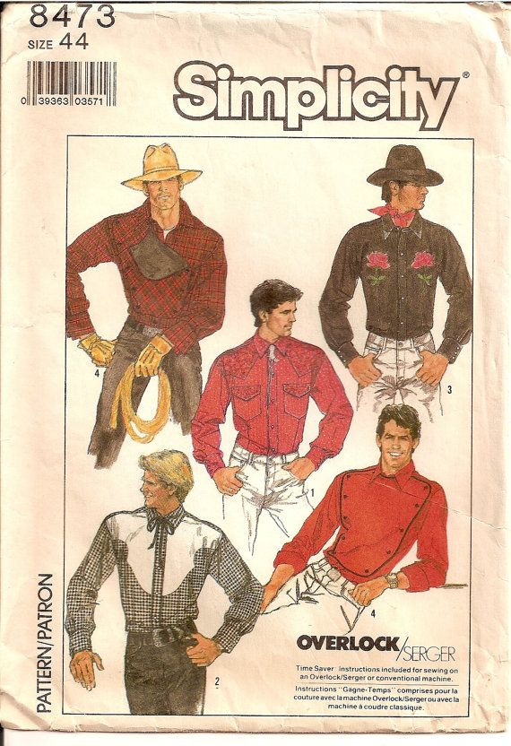Mens Western Shirt Vintage Sewing Pattern Simplicity 8473 Sewing