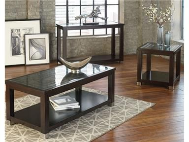 Cool Geometric Frames A Pop Of Metal Trim And A Rich Dark Merlot Stain Add Up To The Bold Contempo Coffee Table Cocktail Tables Living Room Standard Furniture
