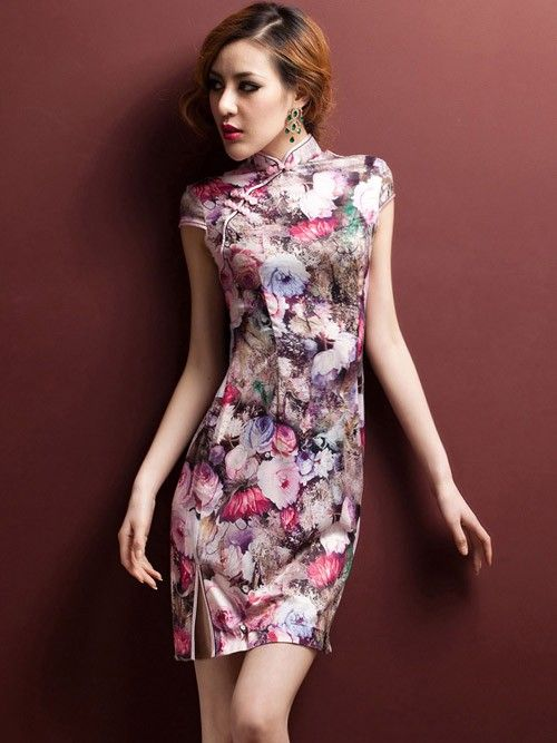Pink Short Floral Qipao / Cheongsam / Chinese Dress