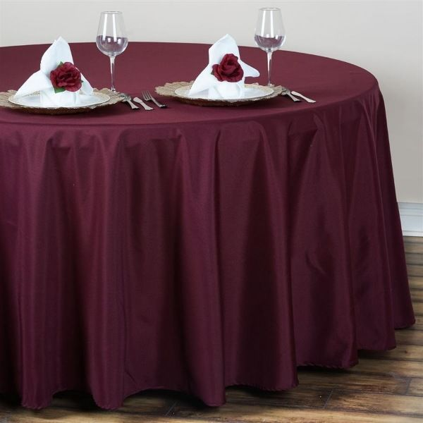 120 Inch Burgundy Polyester Round Tablecloth Table Cloth Round Tablecloth Flower Table Decorations