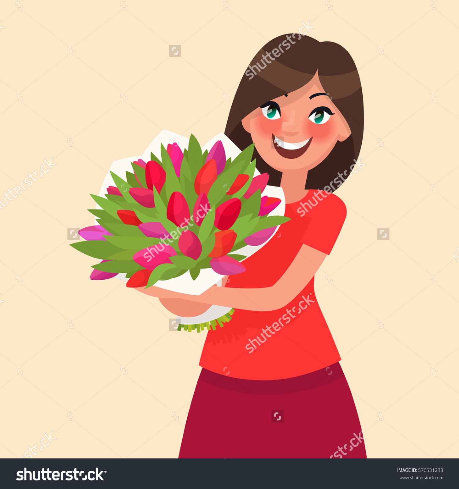 Happy girl holding a bouquet of flowers. Congratulations on the 8 of ...