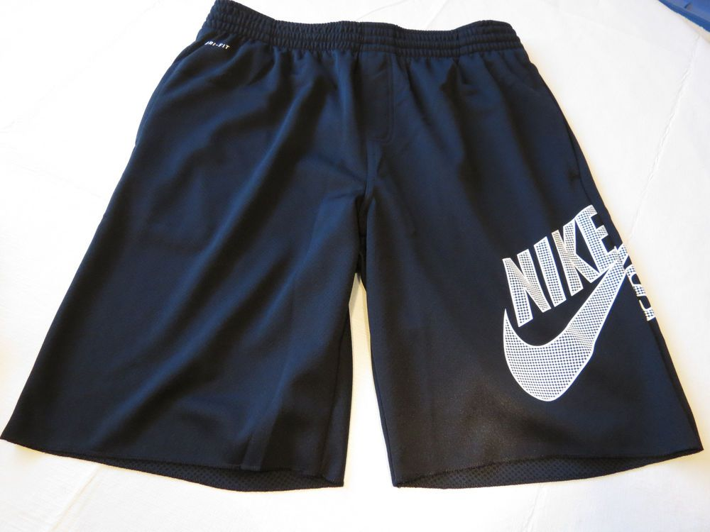 Nike SB skateboarding active workout shorts L LG 623810 DRI FIT Black Mens RARE #NIKESB #shorts