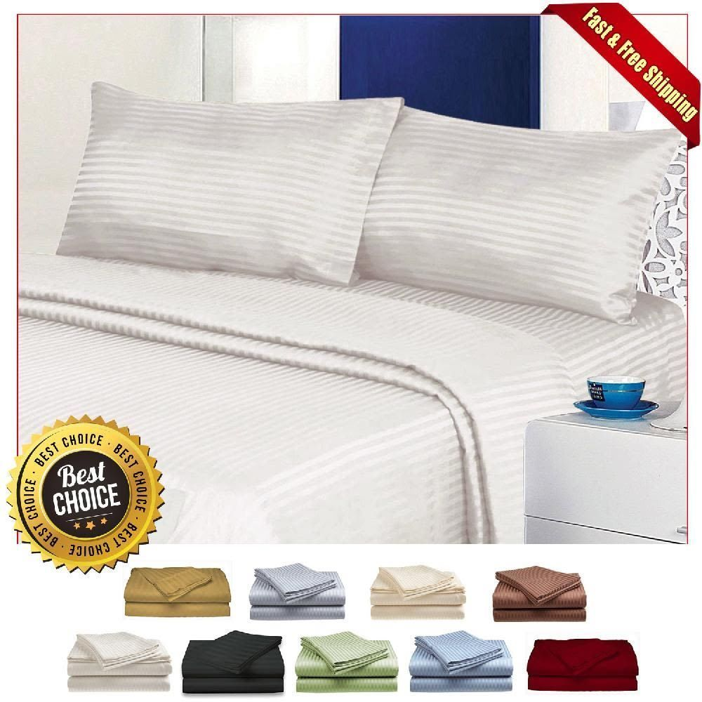 Bed Sheet Set 100% Cotton Sheets Queen Size Deep Pocket Fitted 4 Piece 9  Colors