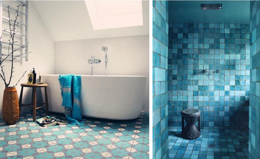 album photo d\'image carrelage salle de bain bleu | salle de bain ...