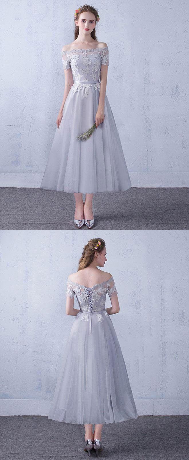 Gray tulle lace tea length prom dress gray bridesmaid dress