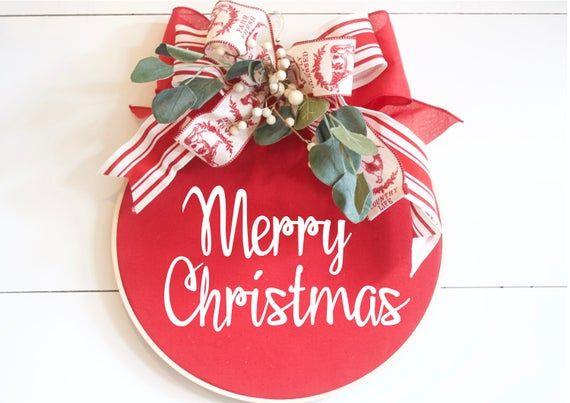 Photo of Christmas Wreath, Hoop Wreath, Christmas Door Hanger, Farmhouse Christmas Wreath, Modern Wreath, Wall Decor, Engagement Ornament
