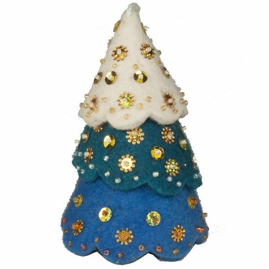 Felted Wool Blue Christmas Tree Ornament