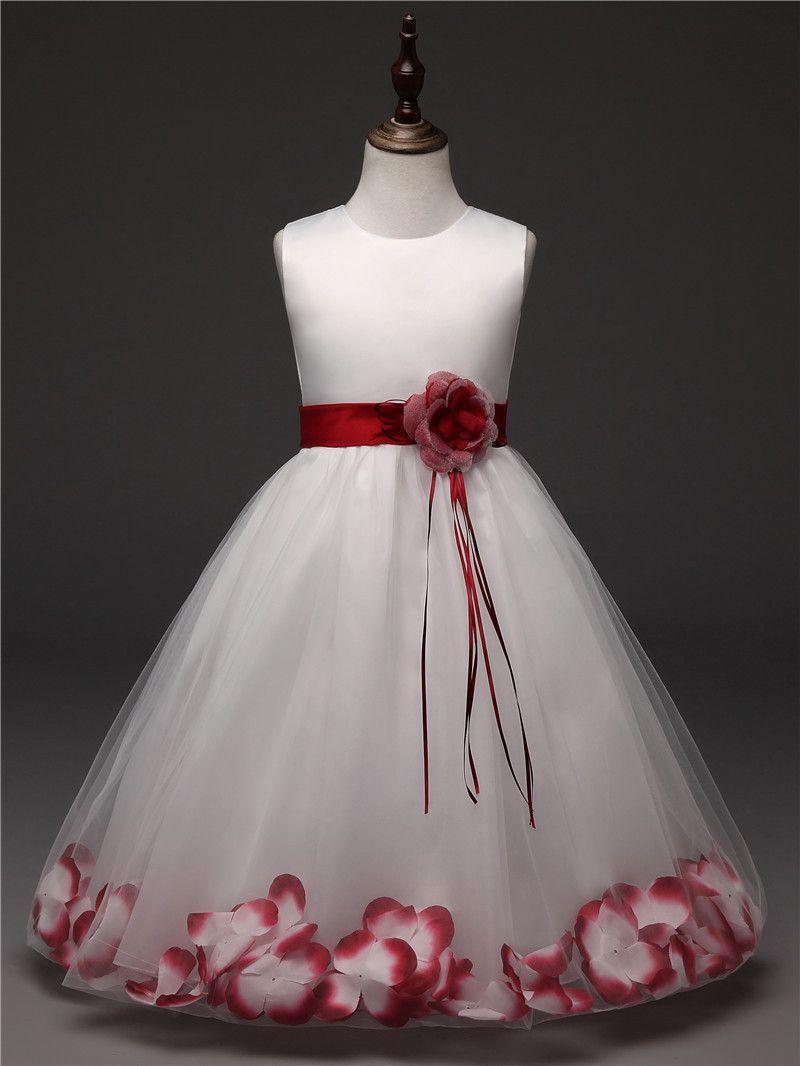 Flower girl dress for wedding party petals tulle dresses princess
