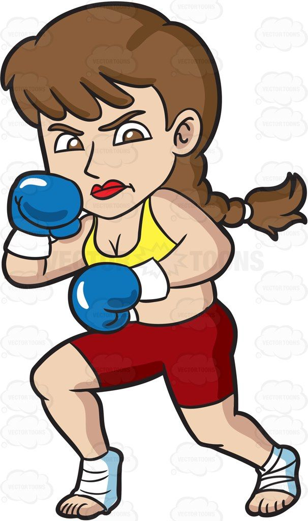 a woman getting ready for kickboxing cartoon clipart vector vectortoons stockimage
