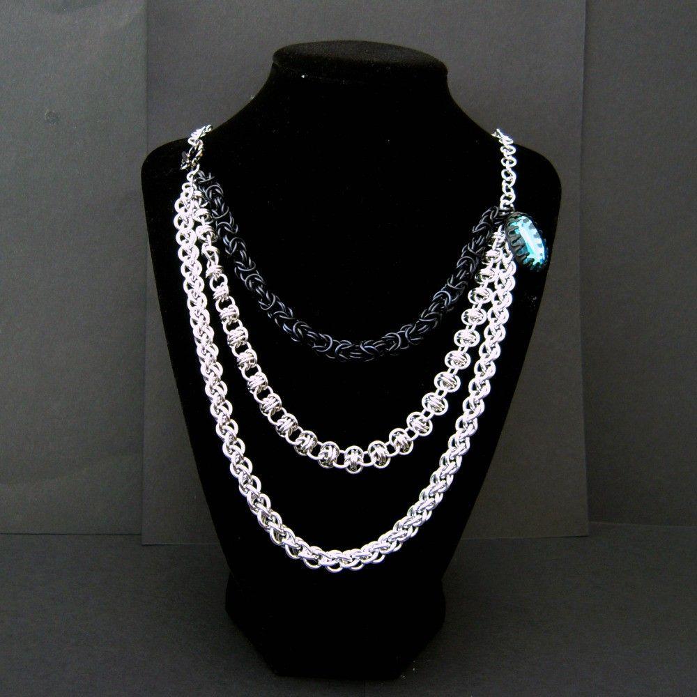 Triple strand chainmaille necklace byzantinebarreljens pinds