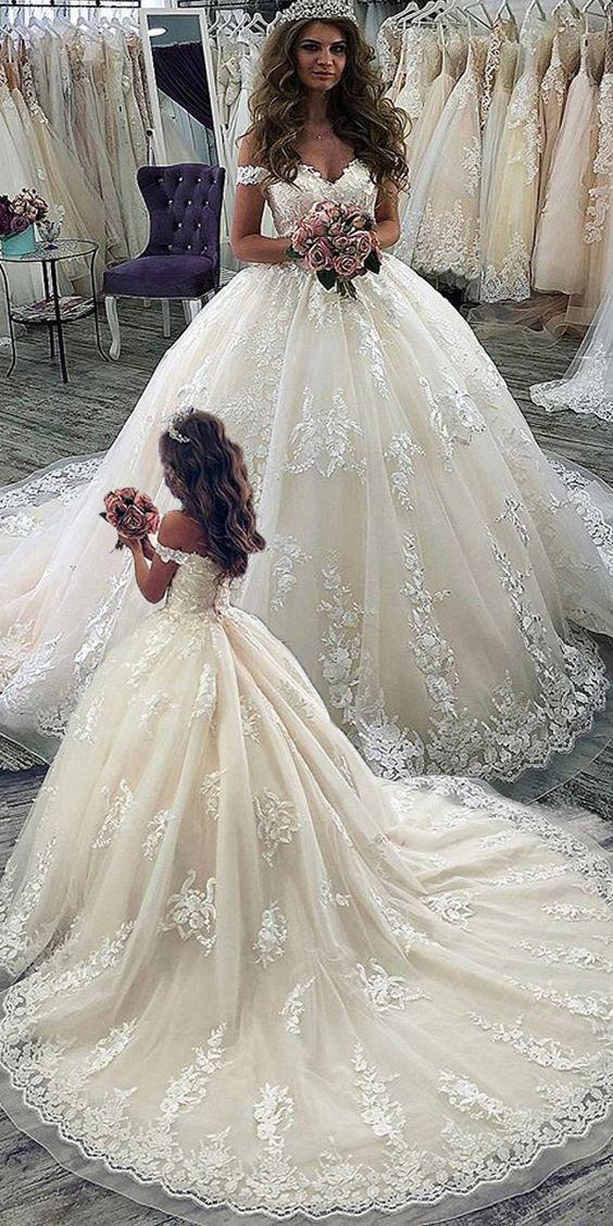 Elegante Brautkleider Prinzessin   Spitze Hochzeitkleider Online