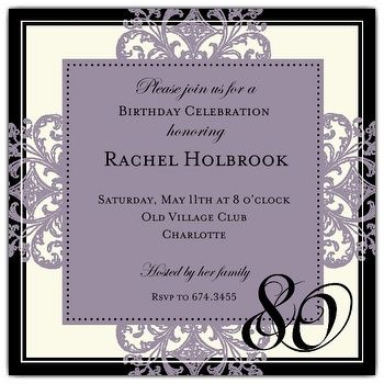 80th birthday invitations square border eggplant 80th birthday square border eggplant 80th birthday invitations paperstyle filmwisefo Image collections