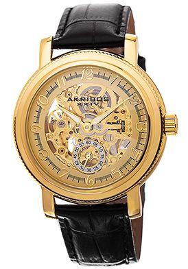 Akribos XXIV Black Genuine Leather Skeletonized Dial Watch - $124.99