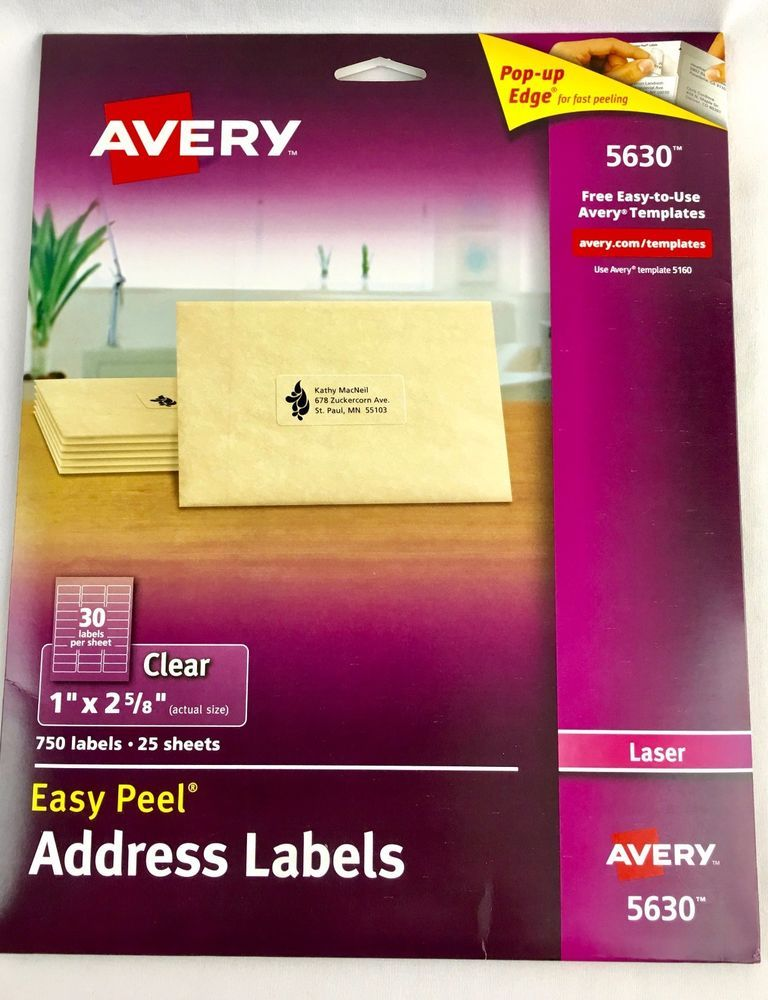 Templates Averydennison Com Researchpaperspotcom Avery 5630 Clear Address Labels 1 X 2625 Easy Peel Mailing Office Letter AveryDennison