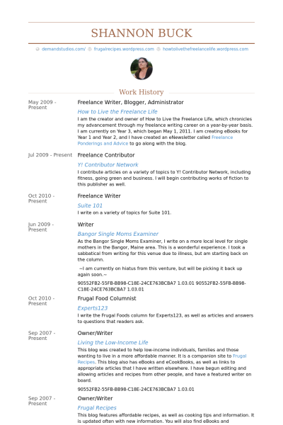 Freelance Writer Blogger Administrator Resume Example Work