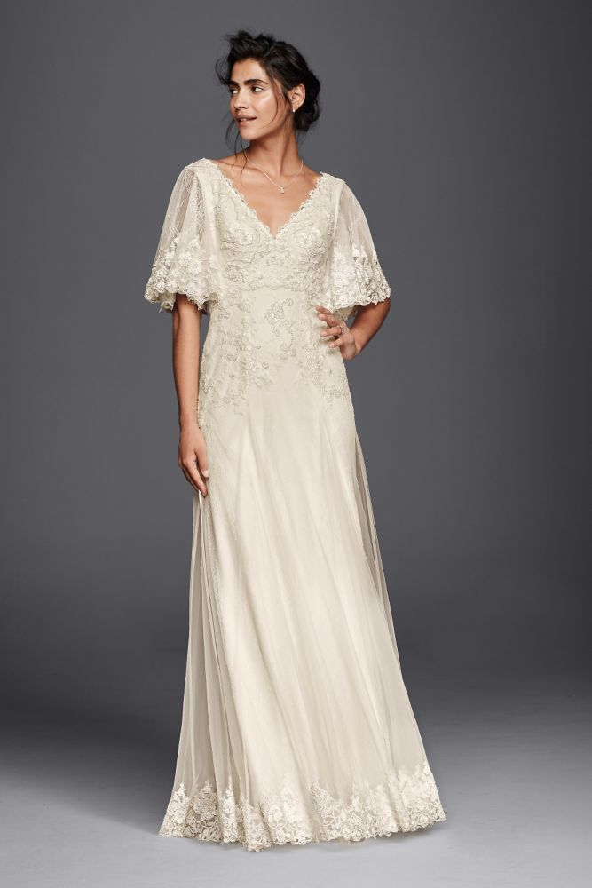 Lace Melissa Sweet Wedding Dress With Flutter Sleeves Ivory 10