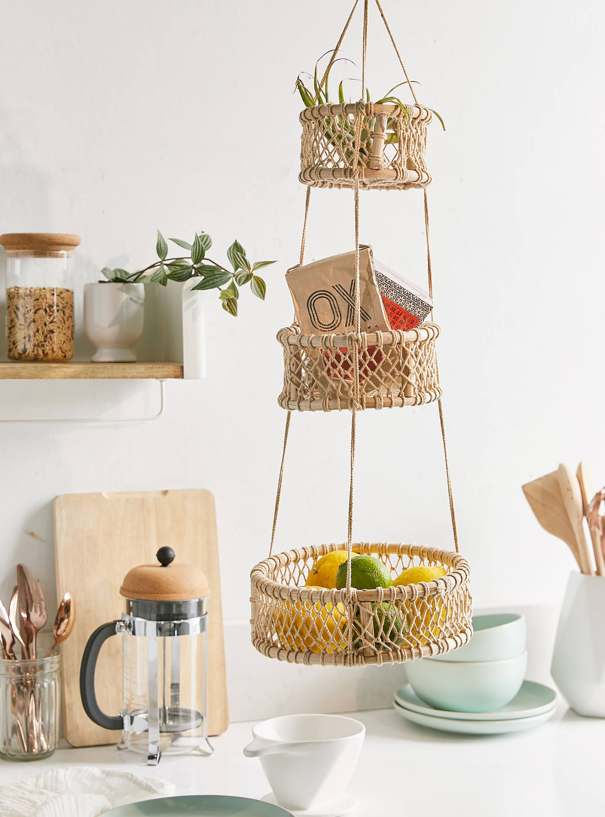 Hanging Basket for Kitchen 3 Tier Hanging Fruit Basket Square Wire Basket with Hanging Basket use Brackets for Wall Hanging or Ceiling Hook with Chalk Board by Z Basket collection