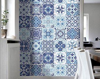 Azulejos vintage azul gris pegatinas azulejos for Azulejos vintage bano